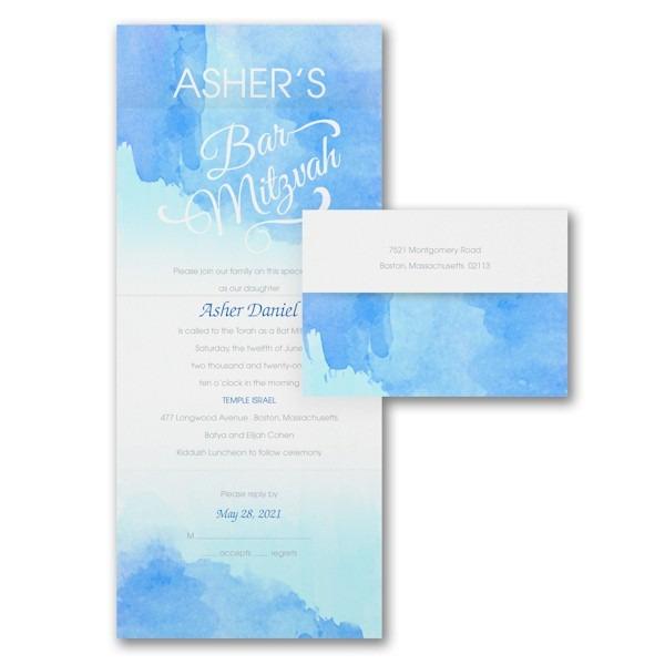 Wonderful Watercolor in Blue Seal 'n Send Bar Mitzvah Invitation Sample
