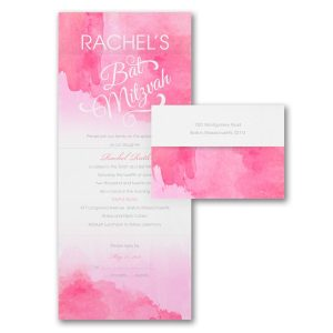 Wonderful Watercolor Fuchsia Seal n Send Bat Mitzvah Invitation