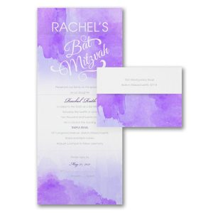 Wonderful Watercolor Violet Seal Send Bat Mitzvah Invitation