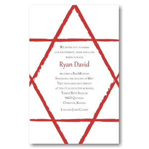 Worthy Star in Red Bar Mitzvah Invitation