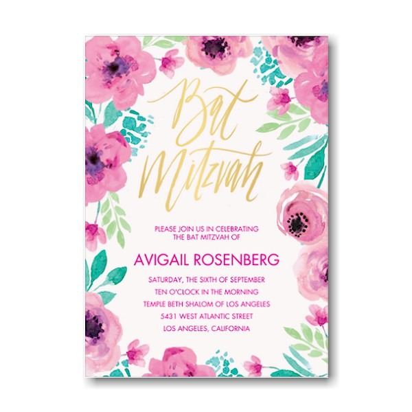 Bat Mitzvah Blossoms Bat Mitzvah Invitation Sample