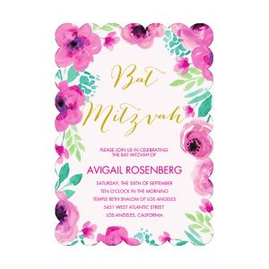 Bat Mitzvah Blossoms Scalloped Bat Mitzvah Invitation