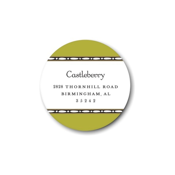 Beaded Border Olive Round Return Address Label
