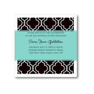 Black Elegant Chair Back Pattern Bat Mitzvah Invitation