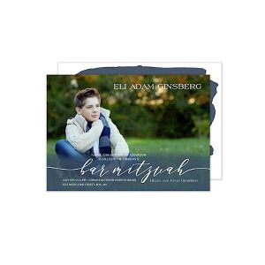 Blue Wash Overlay Photo Bar Mitzvah Invitation