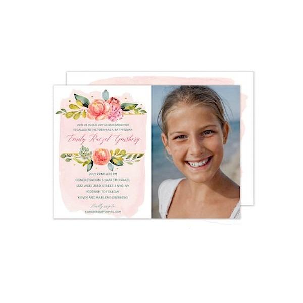 Blush Wash Floral Photo Bat Mitzvah Invitation Sample