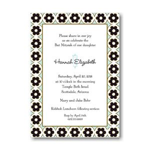Circle Flowers Black and Aqua Bat Mitzvah Invitation