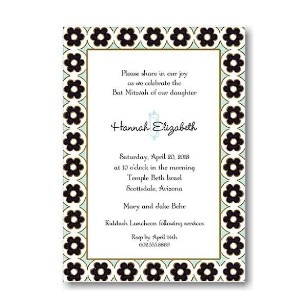 Circle Flowers Black & Aqua Bat Mitzvah Invitation Sample
