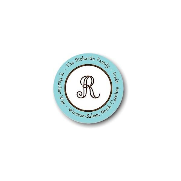Classic Edge Aqua & Chocolate Round Return Address Label