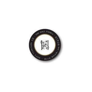 Classic Edge Black & Gold Round Return Address Label