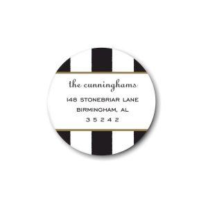 Classic Stripes Black Round Return Address Label