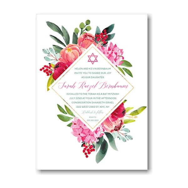 Elegant Floral Diamond Bat Mitzvah Invitation Sample