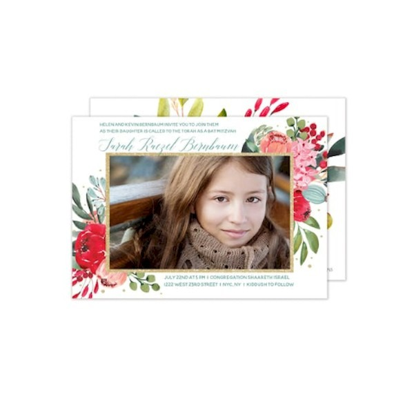 Elegant Floral Framed Photo Photo Bat Mitzvah Invitation Sample