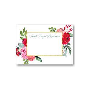 Elegant Floral Gold Frame Flat Note Card