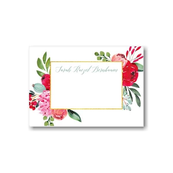 Elegant Floral Gold Frame Flat Note
