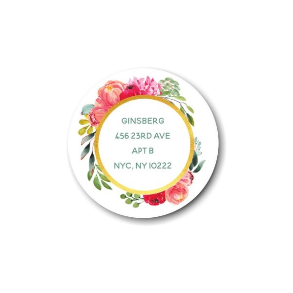 Elegant Floral Gold Return Address Label
