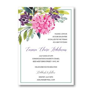 Floral Corner Border Bat Mitzvah Invitation