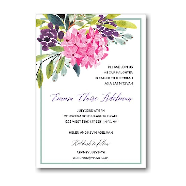 Floral Corner Border Bat Mitzvah Invitation Sample