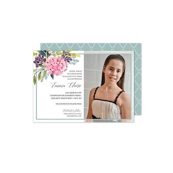 Floral Corner Frame Bat Mitzvah Invitation Sample