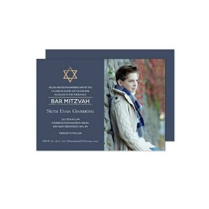 Golden Star of David Photo Bar Mitzvah Invitation Sample