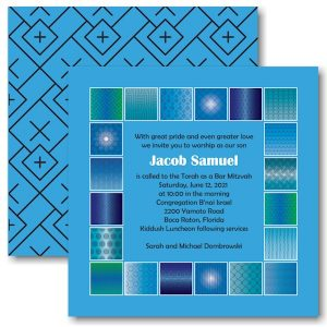 Modern Flair Brilliant Blue Bar Mitzvah Invitation Icon