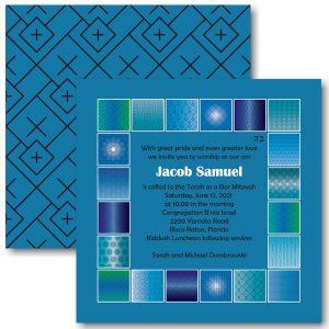 Modern Flair Persian Blue Bar Mitzvah Invitation