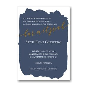 Navy Brush Bar Mitzvah Invitation