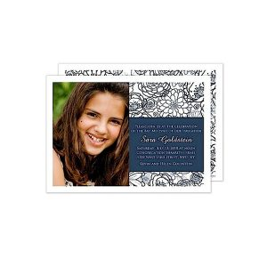 Navy Preppy Floral Photo Bat Mitzvah Invitation