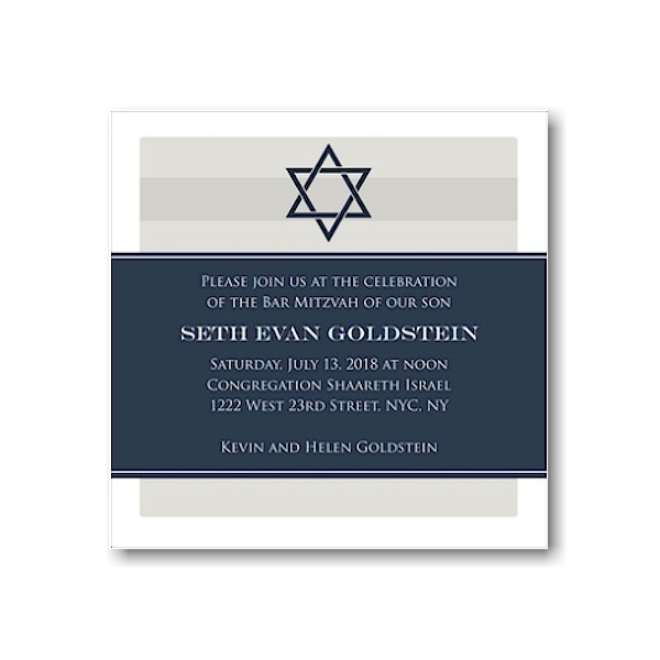 Navy Wrap with Star of David Bar Mitzvah Invitation Sample