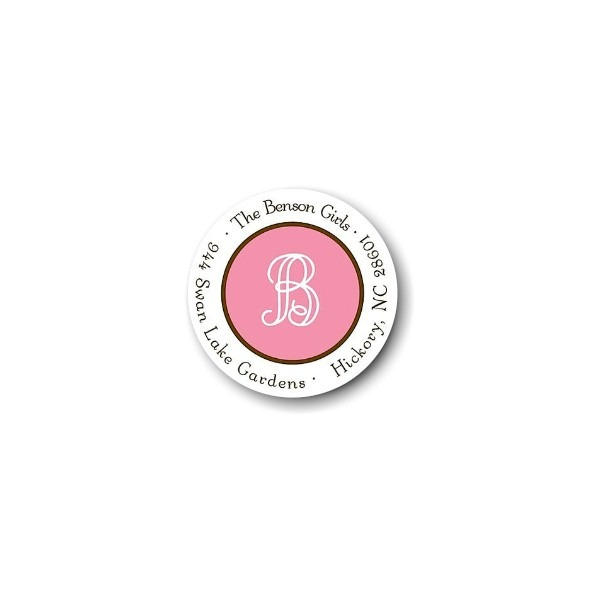 Simple Deep Pink & Chocolate Round Return Address Label