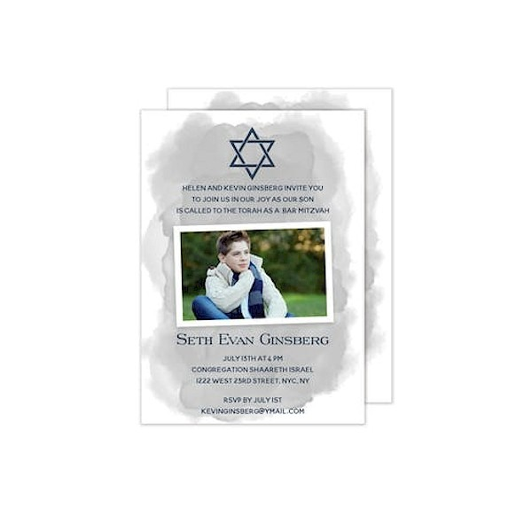 Slanted Grey Wash Star of David Photo Bar Mitzvah Invitation