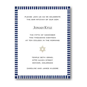 Striped Edge Navy Bar Mitzvah Invitation