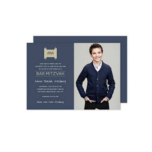 Torah on Navy Photo Bar Mitzvah Invitation