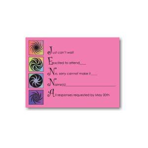 Twirls and Swirls Pink and Black Bat Mitzvah Invitation Enclosures