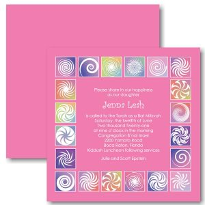 Twirls and Swirls Pink and White Bat Mitzvah Invitation