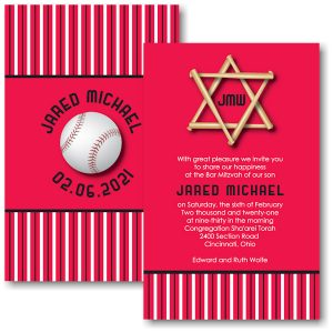 All Star CIN Baseball Bar Mitzvah Invitation