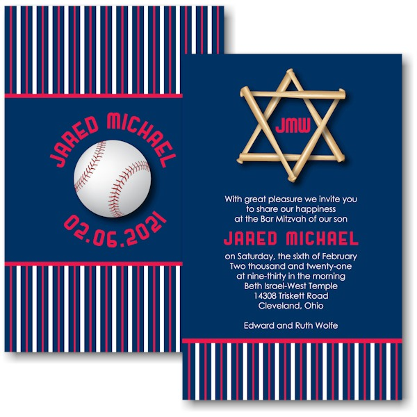 All Star CLE Baseball Bar Mitzvah Invitation Sample