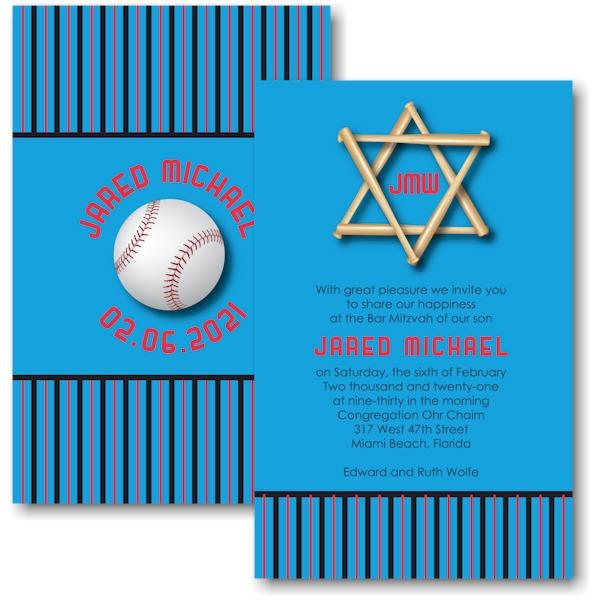 All Star FLA Baseball Bar Mitzvah Invitation