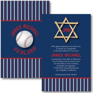All Star LAA Baseball Bar Mitzvah Invitation Sample