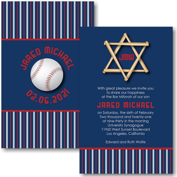 All Star LAA Baseball Bar Mitzvah InvitationAll Star LAA Baseball Bar Mitzvah Invitation