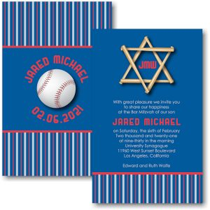 All Star LAD Baseball Bar Mitzvah Invitation Sample