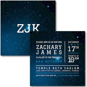 Galaxy Bar Mitzvah Invitation Sample
