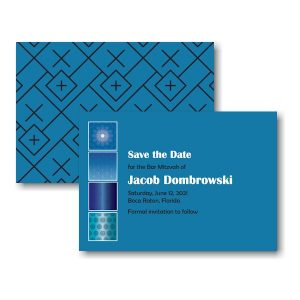 Modern Flair in Persian Blue Save the Date Card Sample