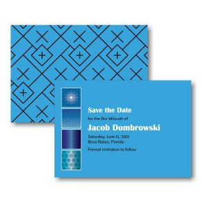 Modern Flair in Brilliant Blue Save the Date Card Sample
