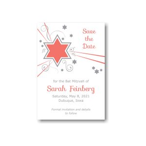 Shooting Star in Coral Save the Date Card Sample