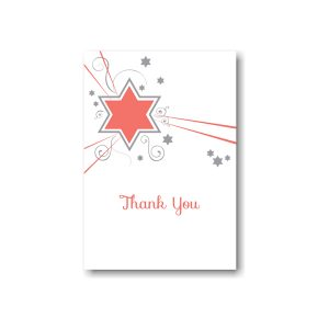 Shooting Star in Coral Thank You Note