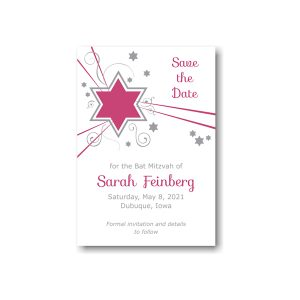 Shooting Star in Fuchsia Save the Date Card Sample