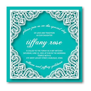 Tiffany Rose Bat Mitzvah Invitation Front