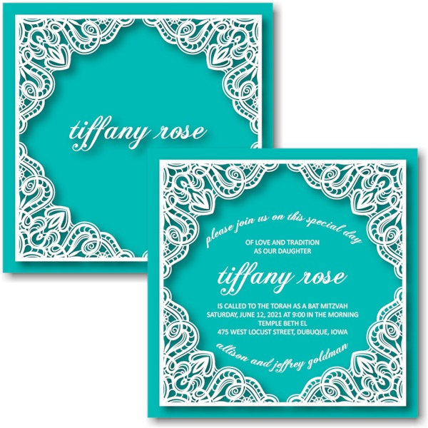 Tiffany Rose Bat Mitzvah Invitation Sample