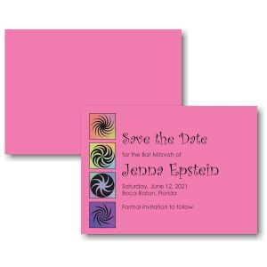 Twirls and Swirls Pink/Black Save the Date Card Sample